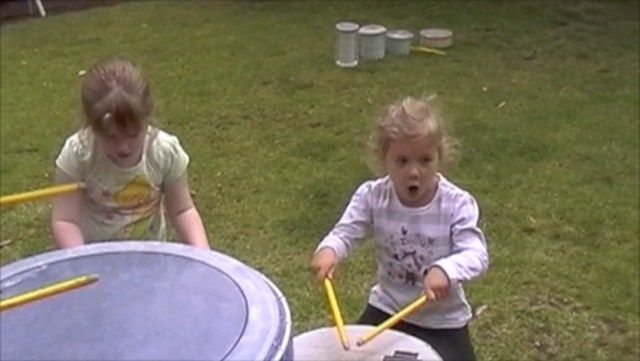 Girls playing drums - with rock &amp; roll attitude!