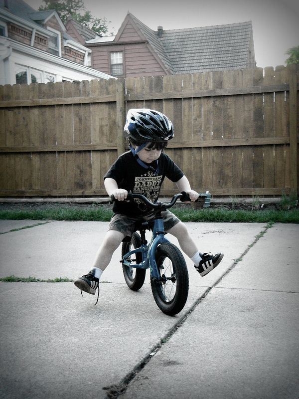 toddler on BMX bike - no training wheels